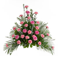 Beloved Side Piece #198216 Viviano Flower Shop funeral service floral arrangement with roses, carnations