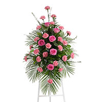 Beloved Spray on Easel #198316 Viviano Flower Shop funeral service floral arrangement collection accent design
