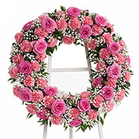 Beloved Wreath on Easel #198416 Viviano Flower Shop funeral service floral arrangement collection accent design