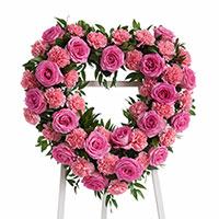 Beloved Heart on Easel #198516 Viviano Flower Shop funeral & memorial service floral arrangement with roses, carnations