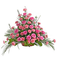 Beloved Floor Piece #198716 Viviano Flower Shop funeral & memorial service floral arrangement with roses, carnations