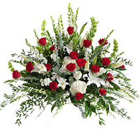 Rose Elegance Side Piece #199216 Viviano Flower Shop funeral & memorial service floral arrangement with roses, lilies