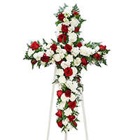Rose Elegance Cross on Easel #199518 Viviano Flower Shop funeral & memorial service floral arrangement