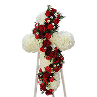 Rose Elegance Cascade Cross #199618 Viviano Flower Shop funeral & memorial service floral arrangement