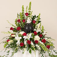 Rose Elegance Memorial #199816 Viviano Flower Shop cremation memorial service floral arrangement with roses, lilies