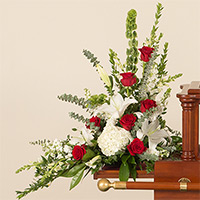 Rose Elegance Memorial Accent #199916 Viviano Flower Shop funeral & memorial service floral arrangement with roses, lilies