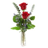 Rose Bud Vase #20015 Viviano vase arrangement of long-stemmed roses with filler flower and greens