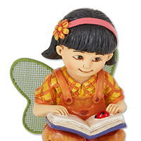 Mikayla the Reading Fairy #204ME104 Viviano Flower Shop mini all-weather accessory from the  Merriment Collection