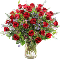 Three Dozen Roses #23615 Viviano Flower Shop arrangement of 36 long-stemmed roses with filler flowers and fancy greens