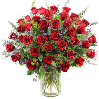 Four Dozen Roses #24815 Viviano arrangement of 48 long-stemmed roses with filler flowers and fancy greens