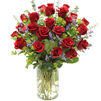 Bella Rosa Premium #2P  Viviano Flower Shop long- stemmed roses arranged with filler flowers and fancy greens
