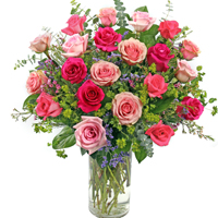 Dolce Rosa Ultimate #2RU Viviano Flower Shop mixed pink long-stemmed roses arranged with  filler flowers and fancy greens