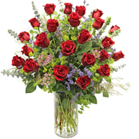 Bella Rosa Ultimate #2U Viviano long- stemmed roses arranged with filler flowers and fancy greens