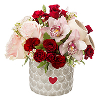 All My Love #30218F Viviano Flower Shop arrangement of flowers in keepsake cement cylinder container