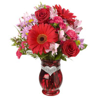 I'm Yours #30714 Viviano  Flower Shop Valentine's floral arrangement with gerbera daisies, carnations, keepsake heart vase