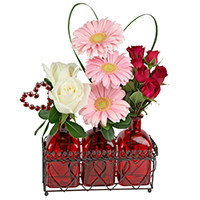 Love Potion #31019 Viviano Flower Shop Valentine's floral novelty arrangement w roses gerbs and sprays w heart pick