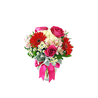 Sweet Dreams #32017 Viviano Flower Shop pink, red, and white arrangement