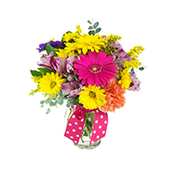 Here Comes the Sun #32318 Viviano flower arrangement in bright colors