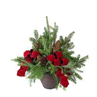 Christmas Porch Pot #400181 Viviano outdoor fresh-cut evergreen arrangement