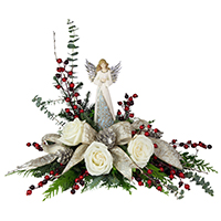 Gloria #40918 Viviano Christmas holiday design with  roses and a keepsake angel