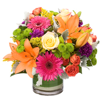 Bright Side #42515 Viviano Flower Shop cheery floral  arrangement with yellow, orange, pink, purple flowers