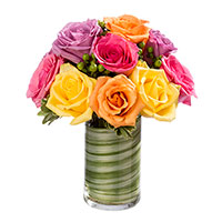 Rainbow Sherbet #43317 Viviano Flower Shop multicolor modern rose arrangement