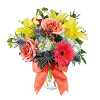 Morning Joy  #43517 Viviano Spring coral, yellow and blue arrangement of roses lilies, hydrangea, gerbs, eryngium