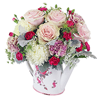 Vintage Floral #44617  Viviano Flower Shop Spring arrangement of pink and cream  flowers in a keepsake watering can