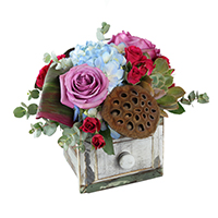 Flourish #44917 Viviano  Flower Shop floral arrangement for Spring made in a drawer container w roses hydrangea succulents gerbs