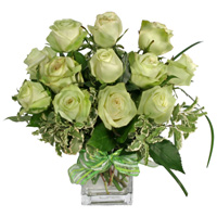 St. Patrick's Rose Special#47412SP  Viviano Flower Shop St. Patrick's Day floral  arrangement with green roses