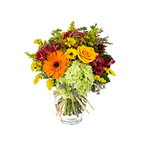 Fall Classic #48418 Viviano autumn floral arrangement in a vase with  mixed vibrant flowers, fall accents