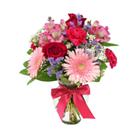 Charmed #48715 Viviano pink floral arrangement with some red