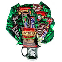 Go Green! - snacks #54311S Viviano Flower Shop food arrangement: Michigan State mug, junk food, cookies, candy, nuts