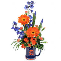 Go Tigers! w/ flowers #54411F  Viviano Flower Shop Detroit sports mug arrangement in blue and orange with iris, gerbera daisies