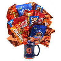 Go Tigers!  - snacks #54411S Viviano snack arrangement: Detroit sports mug & junk food, cookies, candy, nuts