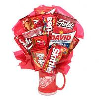 #54611S Go Wings! - snacks Viviano Flower Shop food arrangement: Detroit Red Wings mug, food, candy, cookies, nuts