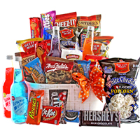 Snack Attack #66115   Viviano Flower Shop junk food arrangement gift basket with  chips, pop, cookies, popcorn