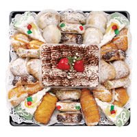 V&J Italian Pastry Platter #72113 Viviano Flower Shop gourmet gift fresh-baked by Vince & Joe's - call recip before delivery