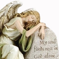 Reclining Angel Memorial Garden Statue (my soul finds rest) w/stone #73342083 Viviano Flower  Shop by Roman for sympathy, funeral
