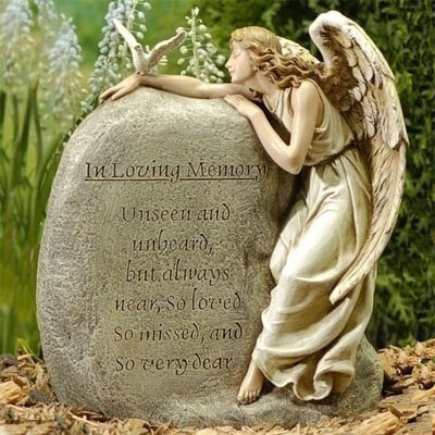 Superior Memorial Angel With Stone Garden Statue