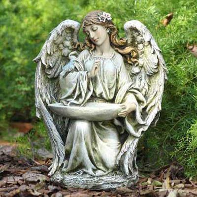 Kneeling Angel Bird Feeder From Viviano Flower Shop