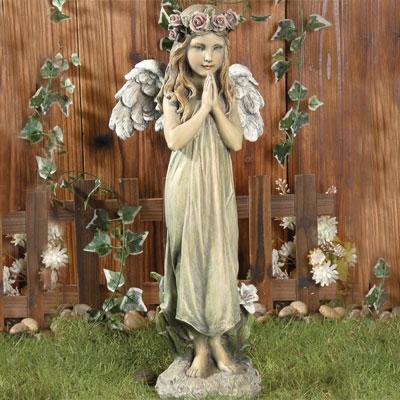 Praying Angel Girl Garden Statue From Viviano Flower