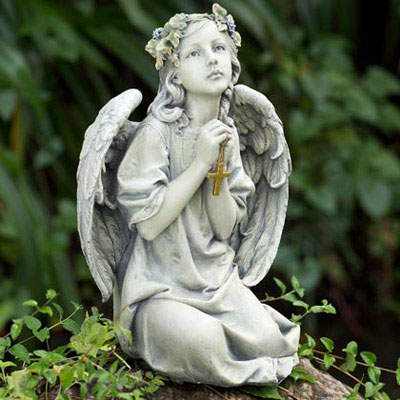 Praying Angel With Cross Garden Statue From Viviano