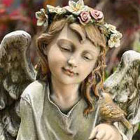 #73619930 Sitting Angel with Bird Statue Viviano Flower Shop keepsake garden gift by Napco for sympathy, memorial, funeral