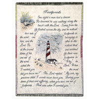 Footprints Throw #742ANF Viviano Flower Shop woven afghan tapestry blanket sympathy gift with floral arrangement option