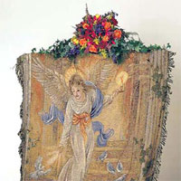 Angel of Light Throw #742ATAOL Viviano Flower Shop woven afghan tapestry blanket sympathy gift with floral arrangement option