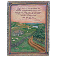 Blessing of Ireland Throw #742ATBOI Viviano Flower Shop woven afghan tapestry blanket sympathy gift with floral arrangement option