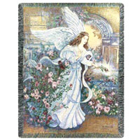 Angel of Love Throw #742ATLAOL Viviano Flower Shop woven afghan tapestry blanket sympathy gift with floral arrangement option