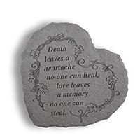 Garden Stone Death Leaves A Heartache #807084 Viviano weatherproof memorial gift