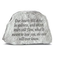 Garden Stone - Our Hearts Still Ache #807 918, 781 Viviano weatherproof garden memorial, sympathy gift